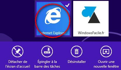 icone Internet Explorer clic droit