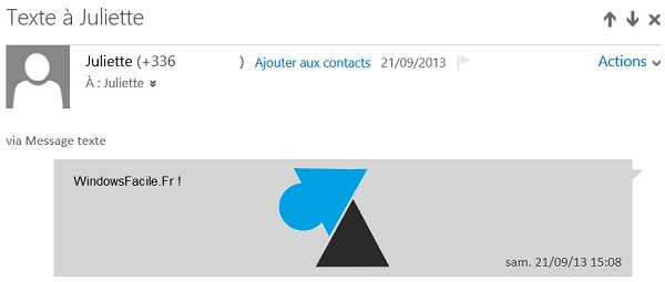 Outlook affiche sms
