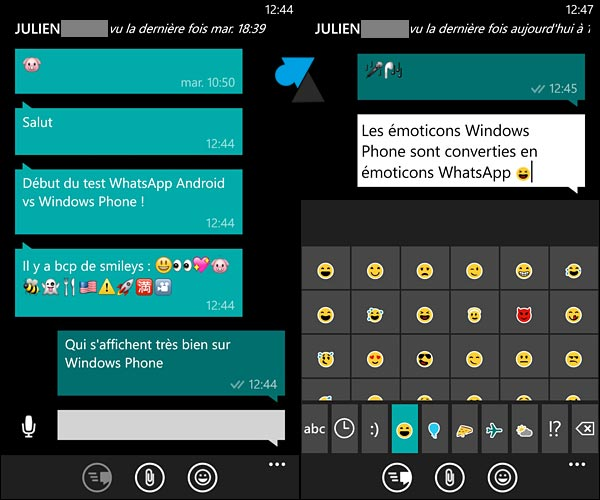 Interface messagerie WhatsApp Windows Phone