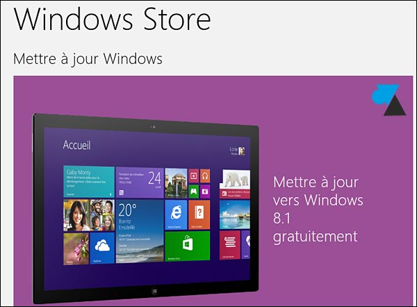 Windows 8.1 mise a jour Store gratuit update