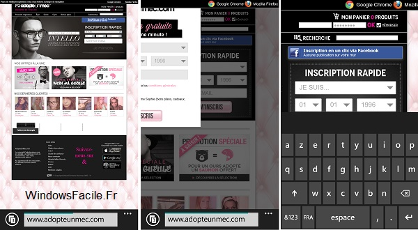 adopteunmec inutilisable windows phone navigateur