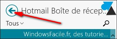 liste dossiers Courrier Windows 8