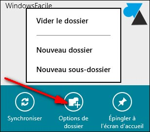 sous dossiers Courrier Windows 8