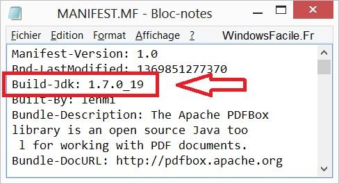 fichier manifest.mf build-jdk