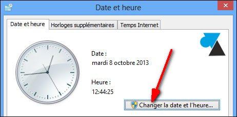 changer date heure Windows
