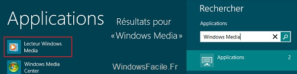 Recherche Windows Media