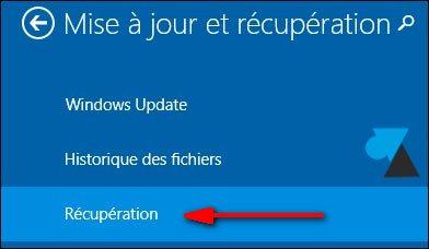 Windows 81 recuperation systeme