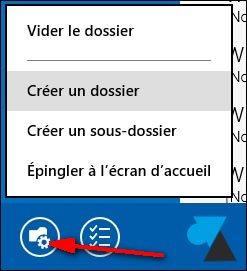 creer sous dossier Courrier Windows81