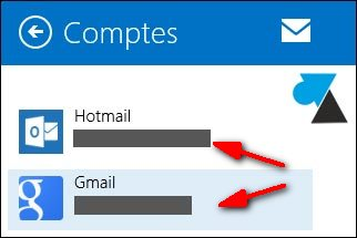 Courrier Windows 8.1 supprimer compte gmail hotmail outlook