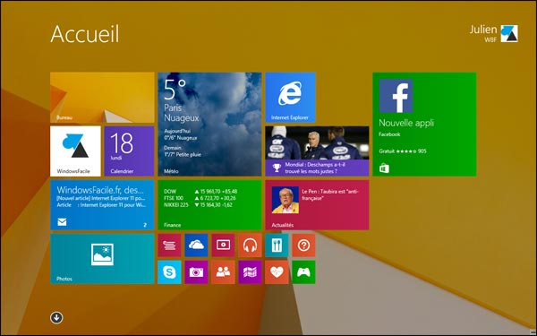 fond ecran accueil Windows 8.1