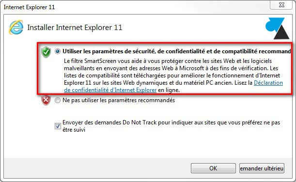 IE11 Internet Explorer 11 parametres