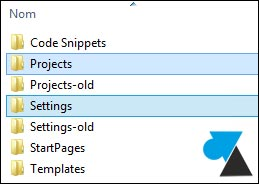 Visual Studio projects settings