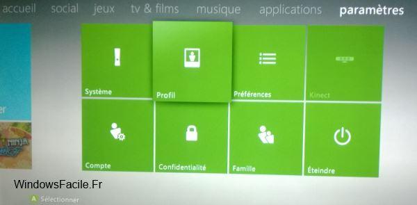 Xbox 360 paramètres