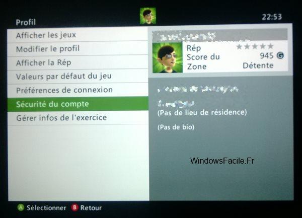 Xbox parametres profil