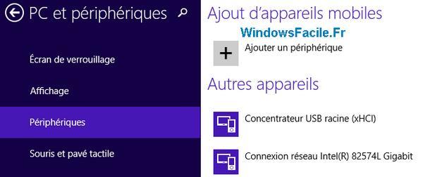 liste périphériques windows 8