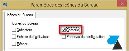 tutoriel icone corbeille bureau