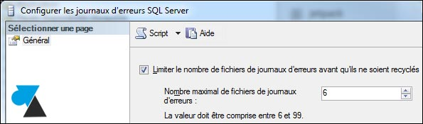 log SQL Server nombre maximum ERRORLOG