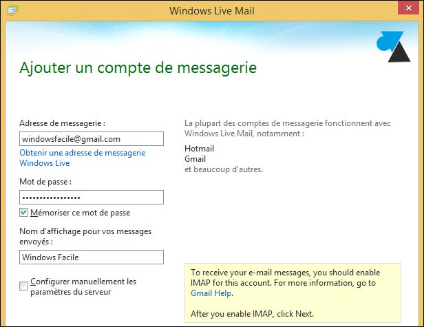 tutoriel Windows Live Mail compte Google Gmail