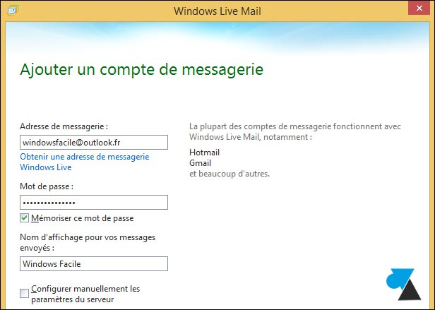 tutoriel Windows Live Mail compte Outlook Hotmail