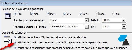 Outlook 2007 options calendrier