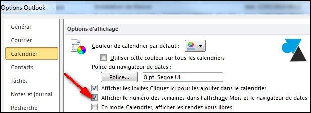 Numero Semaine Calendrier.Afficher Les Numeros De Semaine Dans Outlook 2007 2010 Et