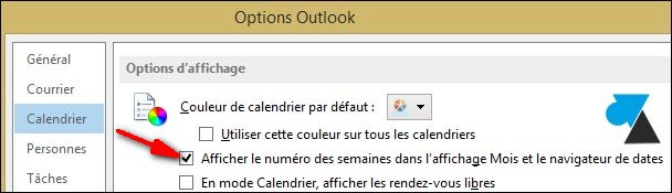 Outlook 2013 options calendrier