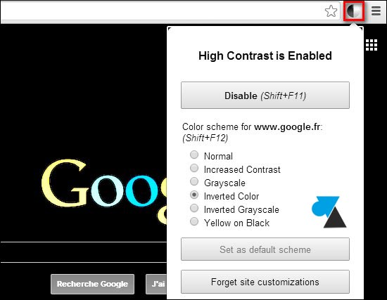 Google Chrome extension High Contrast