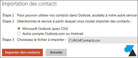 tutoriel Outlook Hotmail importer contacts