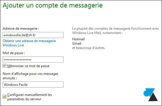 tutoriel adresse email SFR Windows Live Mail