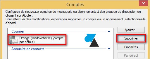 Windows Live Mail suppression compte adresse email