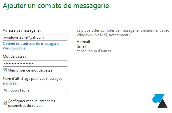 tutoriel adresse email Yahoo Windows Live Mail