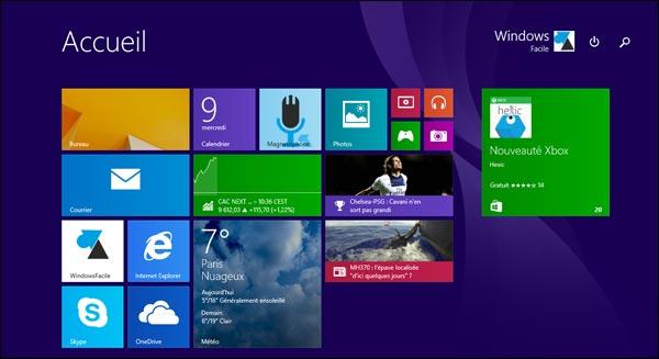 Windows 8.1 update 1 ecran accueil