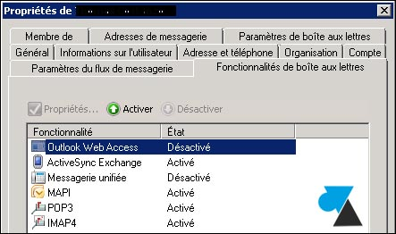 activer desactiver webmail Outlook Exchange 2007