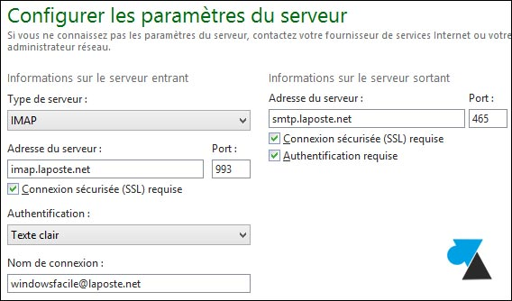 tutoriel configurer Windows Live Mail LaPoste Poste