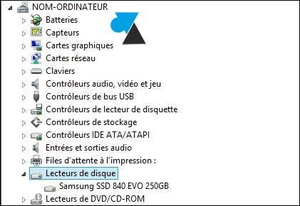 gestionnaire peripherique disque dur SSD reference