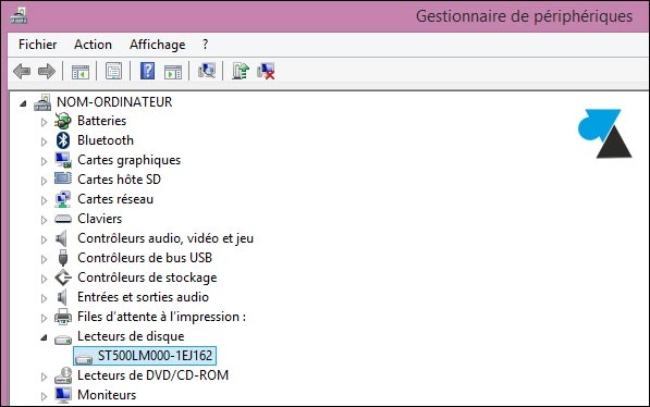 gestionnaire peripheriques reference disque dur SSD SSHD