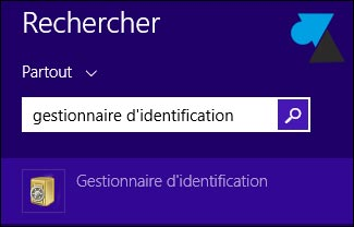 gestionnaire identification Windows 8