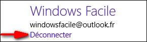 Windows8 parametres compte deconnecter