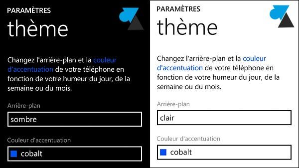 Nokia Lumia Windows Phone theme sombre clair