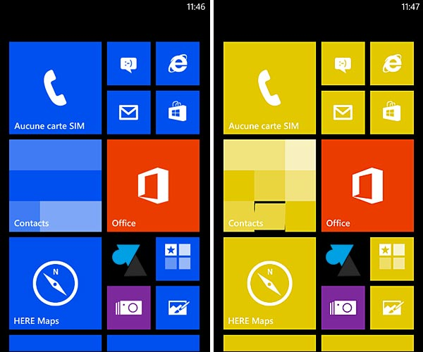 Nokia Lumia Windows Phone theme couleurs