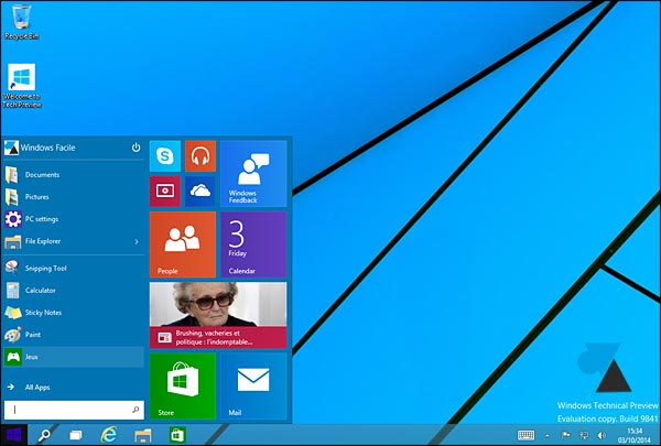 Windows 10 ecran accueil Bureau menu Demarrer