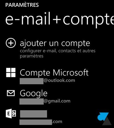 tutoriel Windows Phone 8 ajouter compte mail