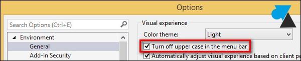 tutoriel Visual Studio 2013 menu miniscule majuscule