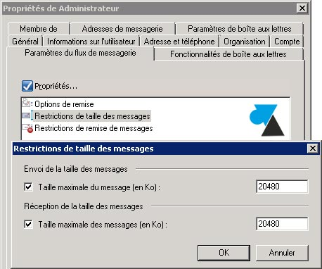 tutoriel Exchange 2007 taille maximum mail