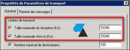 tutoriel Exchange 2007 taille maximum mail