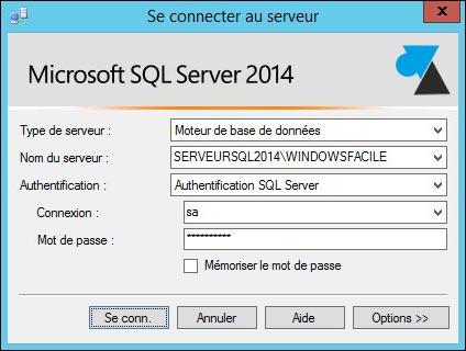 tutoriel connexion SQL Server 2014