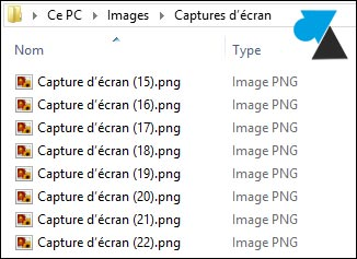 tutoriel reinitialiser nombre capture ecran Windows