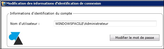 Symantec Backup Exec modifier administrateur mot de passe
