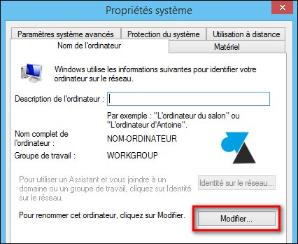 tutoriel Windows changer nom PC ordinateur Workgroup
