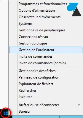 tutoriel gestion ordinateur menu demarrer windows server 2012